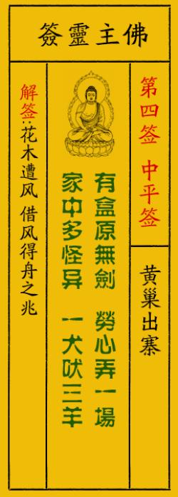 佛祖灵签4签解签